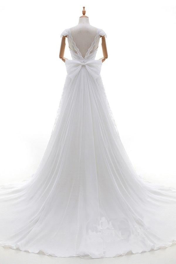 White A Line Court Train V Neck Capped Sleeve Backless Wedding Dress,Wedding Dress W258