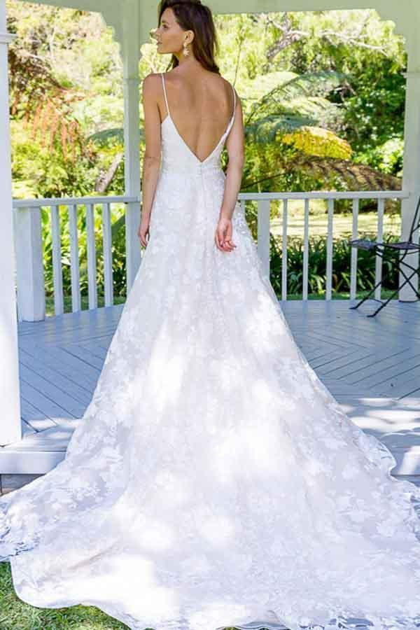 Simple Spaghetti Straps V Neck A Line Backless Lace Appliques Wedding Dresses W459