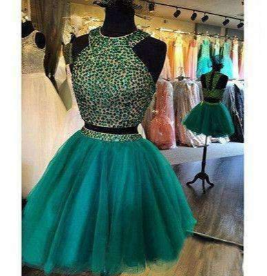 New Arrival turquoise two pieces beaded off shoulder casual homecoming dresses,BD00143
