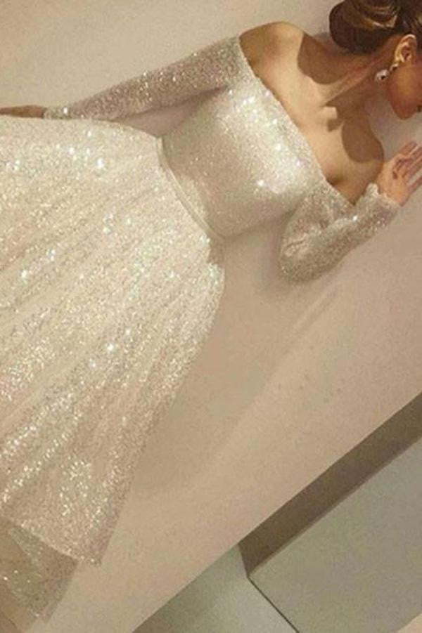 White Off Shoulder Long Sleeve Homecoming Dress,Sparkle Mid Prom Dress H184