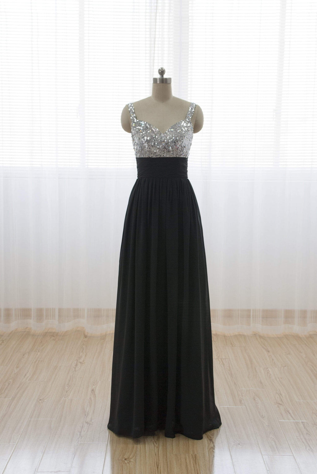 Sweetheart Sleeveless Long Prom Dresses Chiffon A Line Bridesmaid Dresses