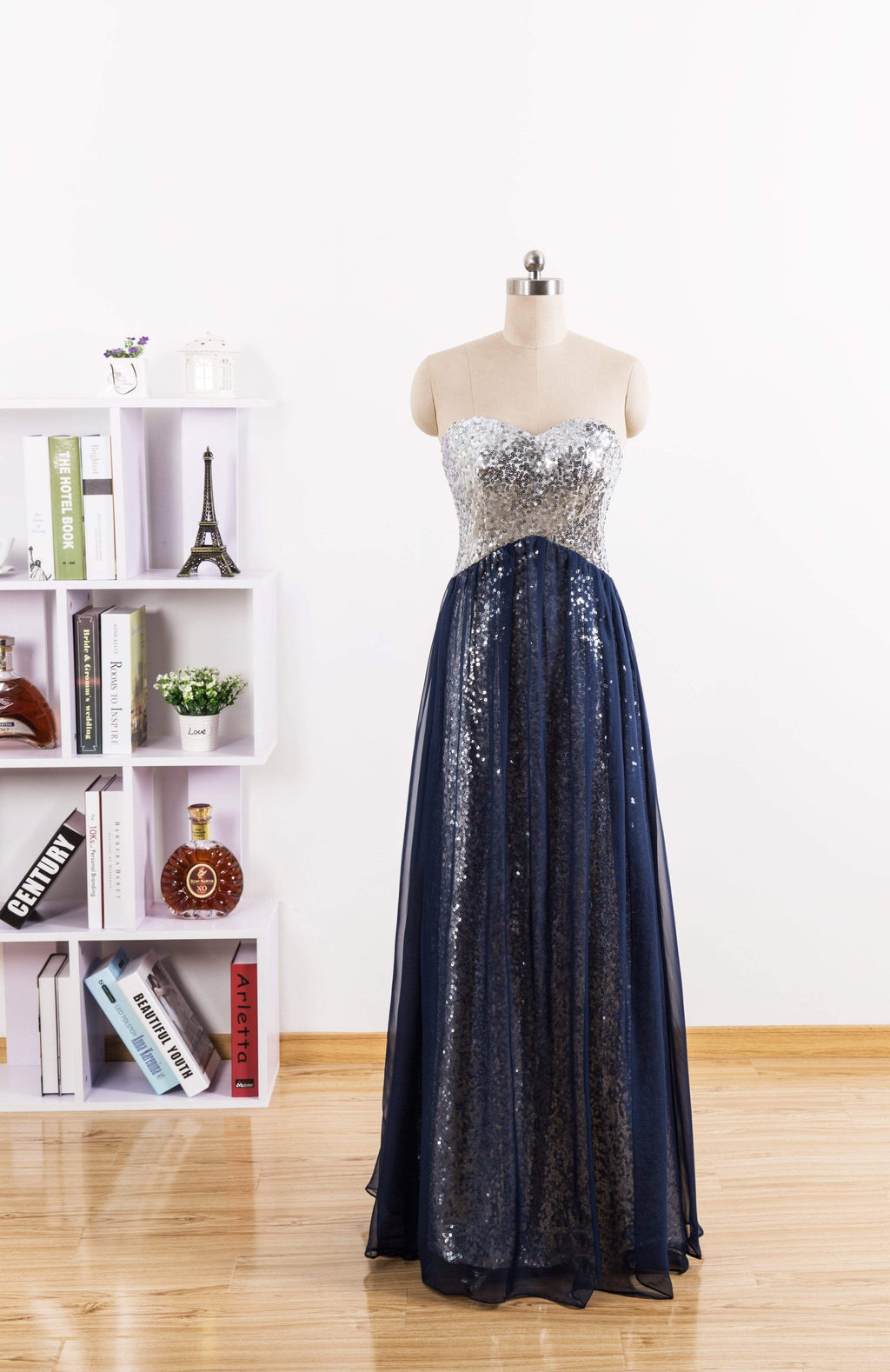 Dark Navy Sweetheart Sleeveless Empire Sequin Prom Dresses Cheap length A-line Bridesmaid Dresses