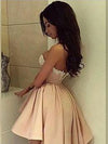 Cute Dark Pink A-line high low Satin lace prom formal dresses