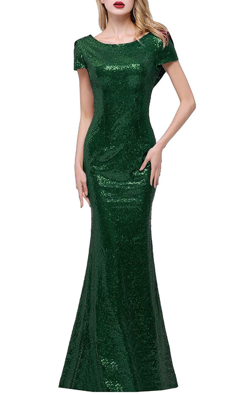 Sparkly Green Modest Sequin Prom Dresses short sleeve Mermaid Mermaid Formal Gowns