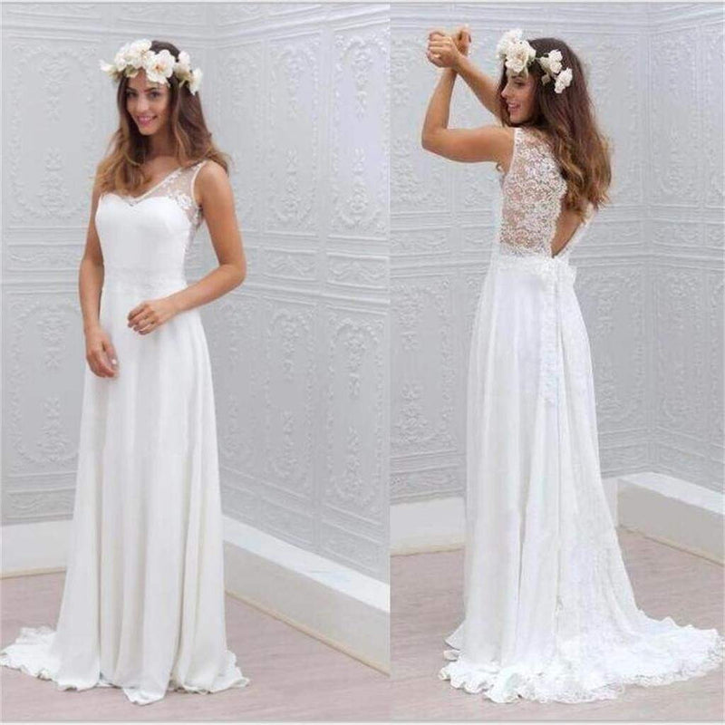 White Prom Dresses V-Neck Sleeveless Backless Chiffon Bridesmaid Dresses