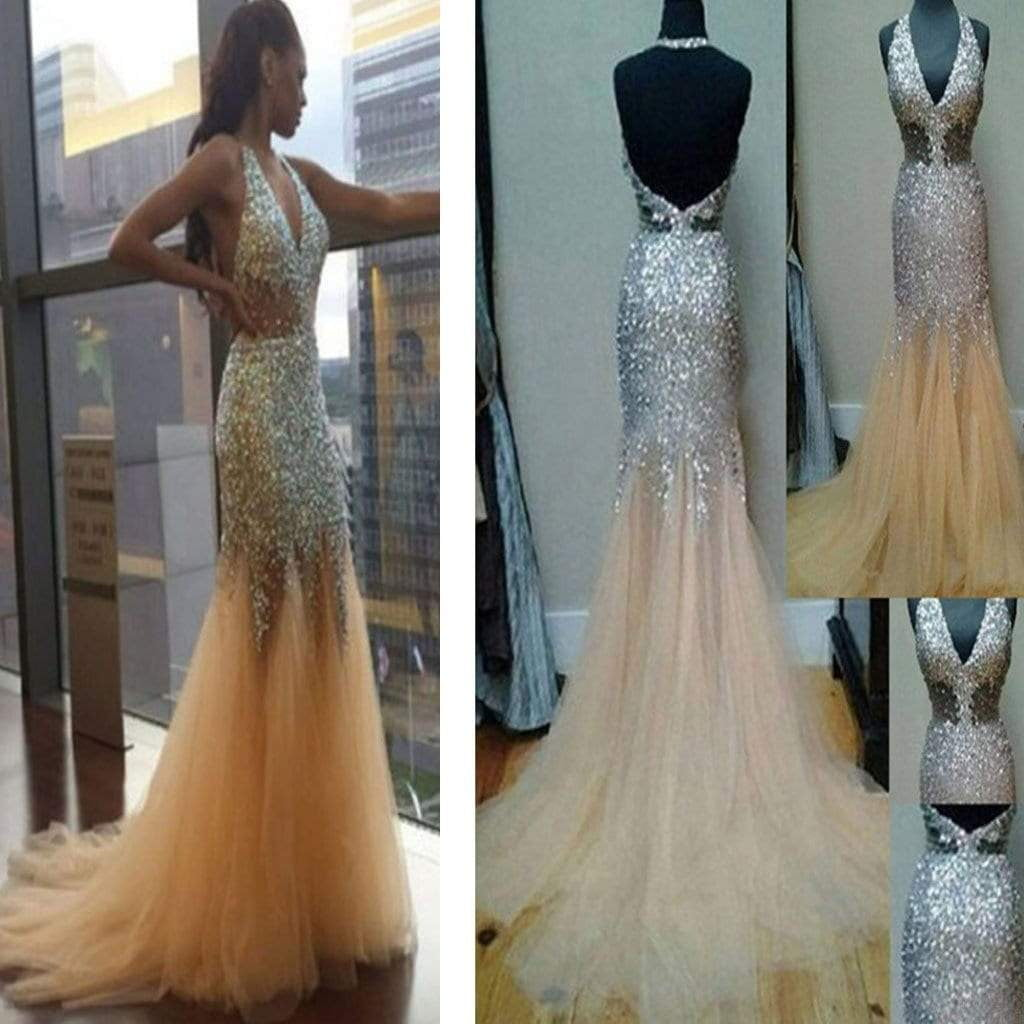 Sparkly Beaded Gorgeous Unique Sexy Junior Long Formal Prom Dress,AB1133