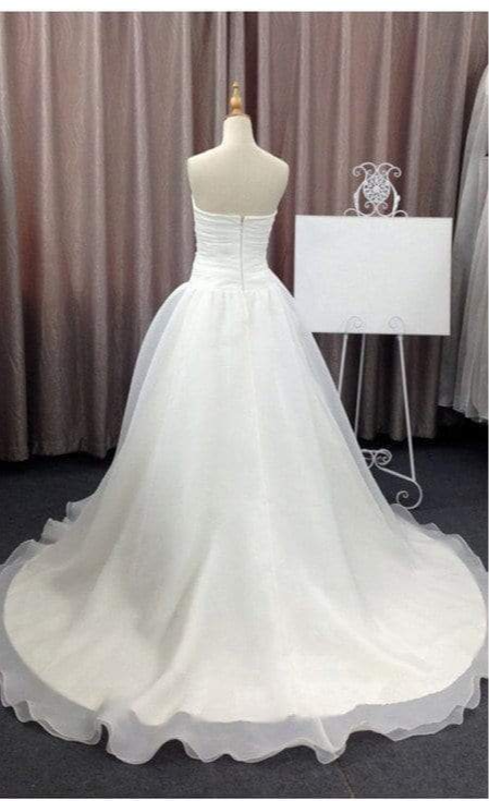 Simple Elegant Sweetheart White Chiffon Wedding Party Dresses, Cheap Bridal Gown, WD0077