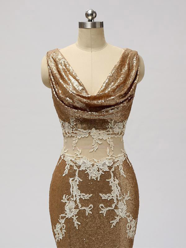 See Through Mermaid V Neckline Sleeveless Gold Sequined Prom Dresses With Lace