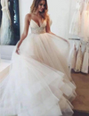 Impressive Spaghetti Straps V Neck Lace With Beaded Wedding Dresses W354