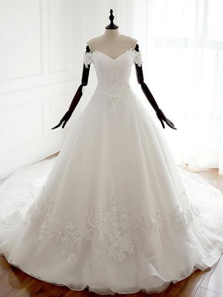 Ivory Off Shoulder Sweetheart A-line Lace Long Cheap Princess Brush Train Wedding Bridal Dresses
