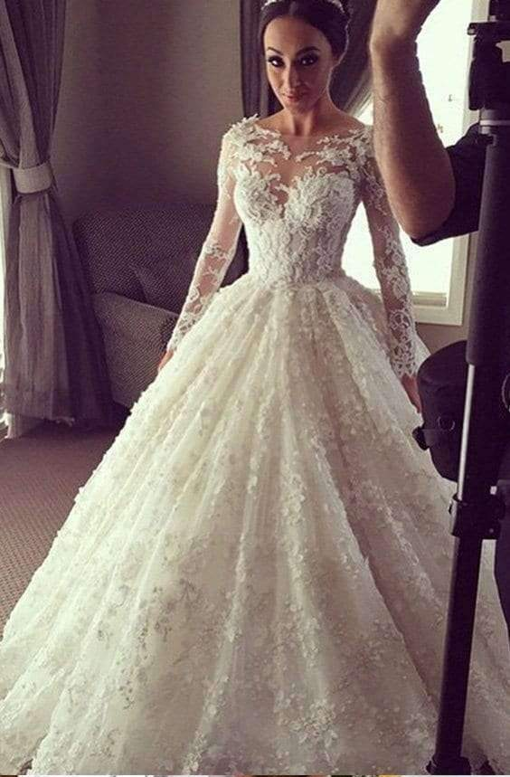 Impressive Round Neck Long Sleeves Lace Appliques Wedding Dresses W366