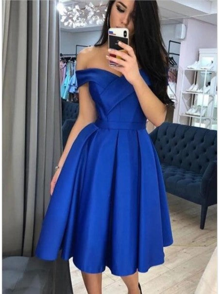 A-Line Off-the-Shoulder Short Prom Dresses Formal Evening Gowns