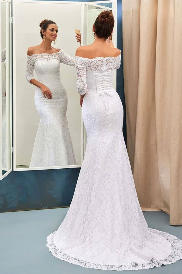 Stunning Mermaid 3/4 Sleeves Lace Appliques Off The Shoulder Wedding Dress W400