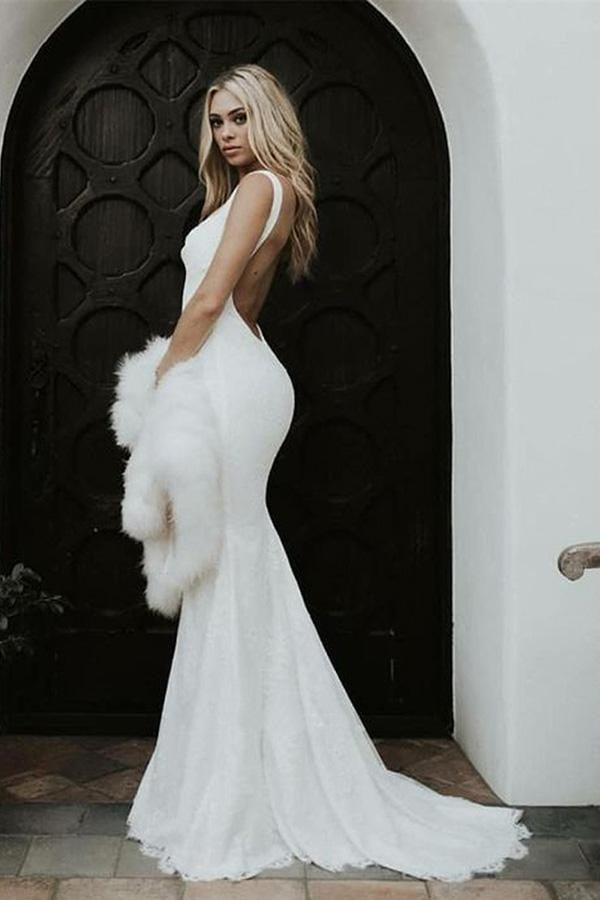Simple Mermaid Sleeveless V Neck Backless Sweep Train Wedding Dress W401