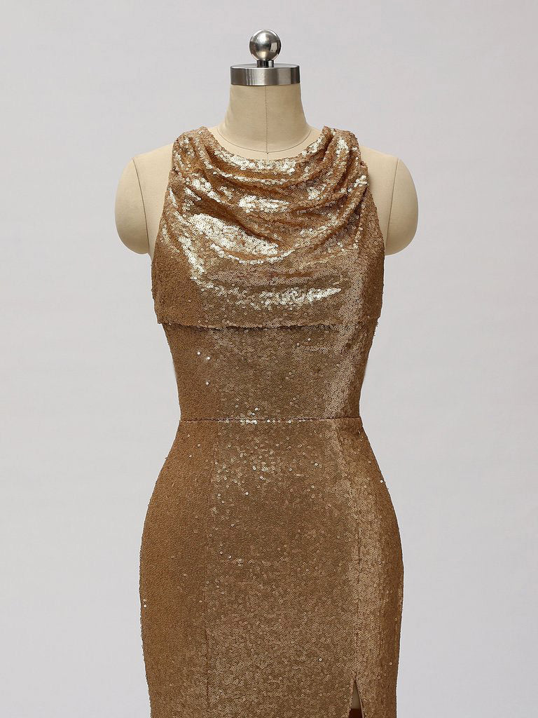 Sexy Scoop Split-Front Mermaid Gold Sequin Sleeveless Appliques Floor length Prom Fromal Dresses