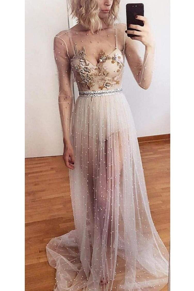 Unique Spaghetti Straps V Neck Tulle Prom Dress with Appliques Party Dress with Long Sleeves P877