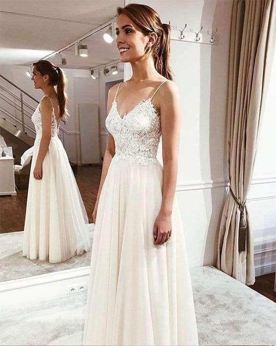 Elegant Spaghetti Straps Sleeveless Lace Appliques Wedding Dresses W345