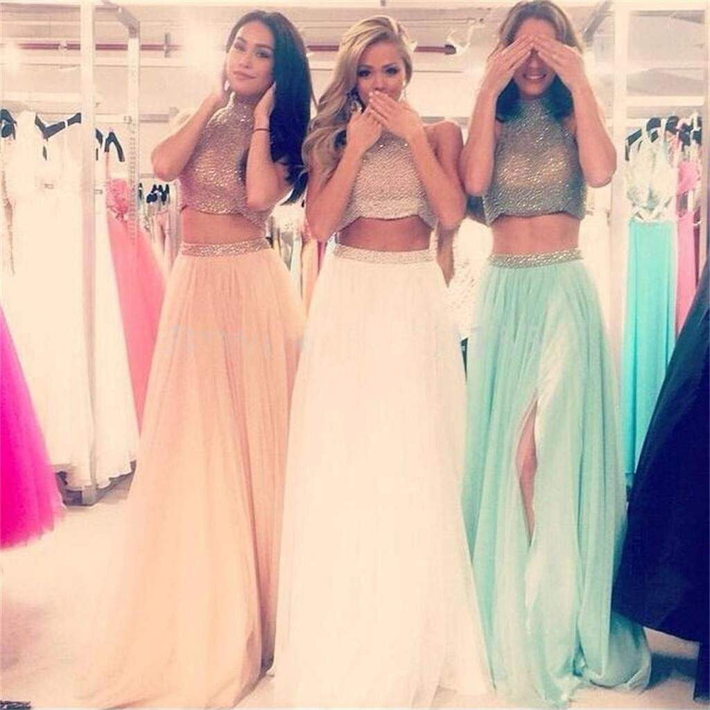 Two Pieces High Neck Side Slit A-line Evening Party Prom Dresses Online,PD0124