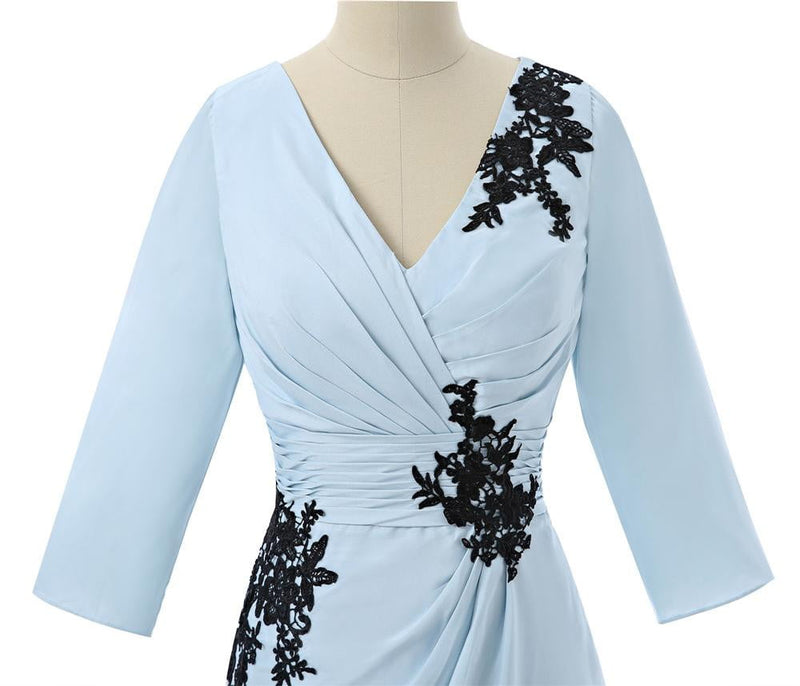 Blue V neck lace Appliques chiffon Mother Of The Bride Dresses Sheath 3/4 Sleeves Formal Mother Dress