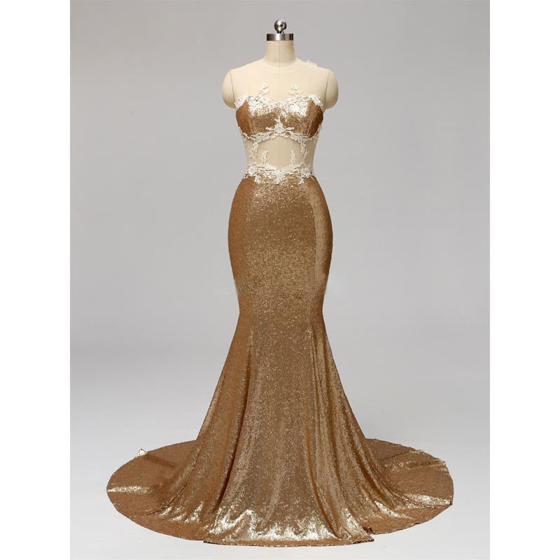 Gold Sequin Scoop See Through Mermaid Appliques Floor length Prom Gown Dresses