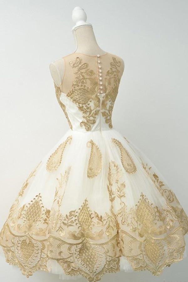 White Sheer Ball Gown Homecoming Dresses,Sleeveless Gold Lace Up Appliques Short Prom Dress HCD121