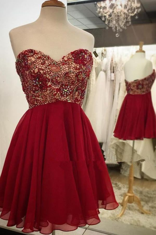 Sweetheart A-Line Chiffon Homecoming Dress,Open Back Appliqued Beaded Short Prom Dress HCD53
