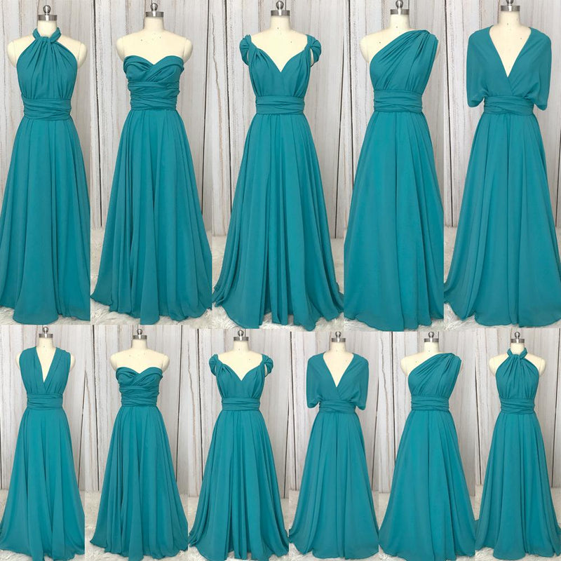 Turquoise blue Infinity Dresses long convertible chiffon cheap 2020 wedding bridesmaid dresses