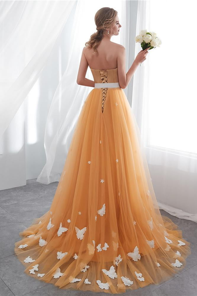 Simple Strapless Satin Open Back Tulle Sweep Train Prom Dress with Appliques P860