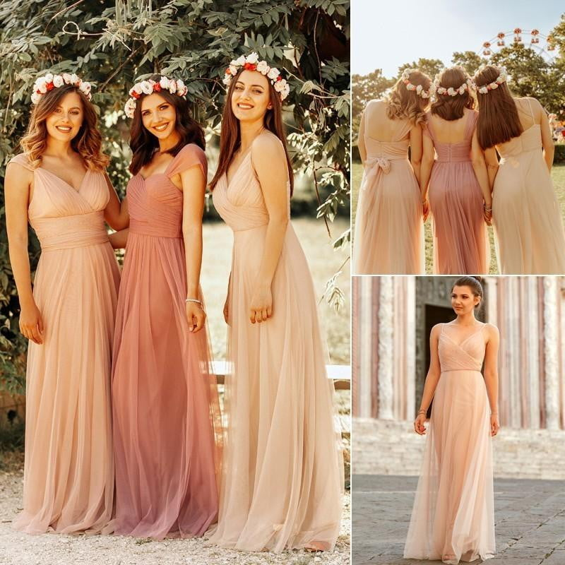 Blush Pink Chiffon Bridesmaid Dresses Sweetheart A-line V-neck Sleeveless Wedding Party Dress Elegant for Women