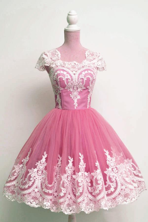 Vintage 1950s Anke length Prom Dresses Tulle Swing Party Dress Lace Appliques