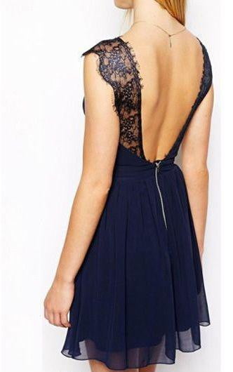 Sweetheart Open Back Party Dress Lace Appliques Homecoming Dress M529