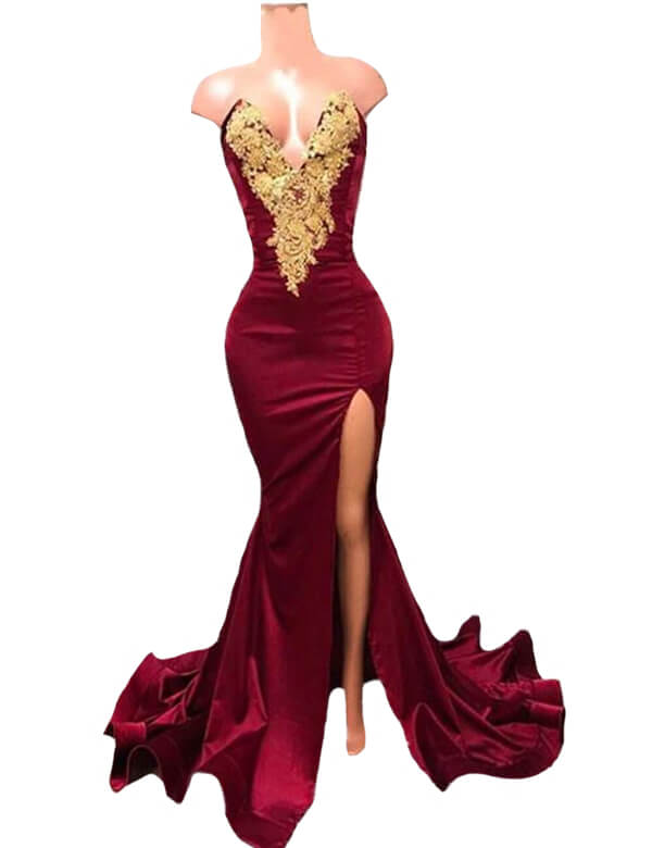 2020 Elegant Burgundy Mermaid Long Prom Dresses Sexy Gold Lace Appliques V Neck Evening Formal Dresses