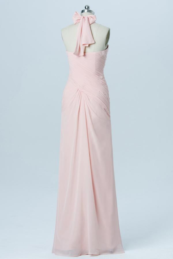 Soft Pink Sweetheart Halter Short Bridesmaid Dresses,Open Back Simple Bridesmaid Gowns OB103