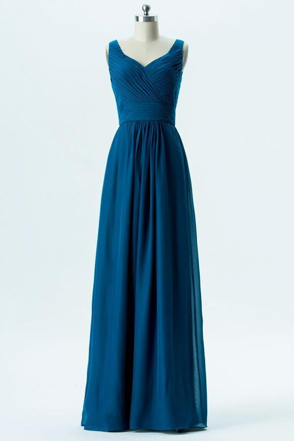 Winter Teal Sweetheart Simple Bridesmaid Dresses,Sleeveless Floor Length Bridesmaid Gowns OB126