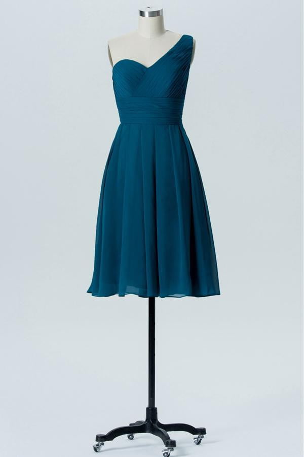 Winter Teal One Shoulder Short Bridesmaid Dresses,Open Back Bridesmaid Gowns OMB80
