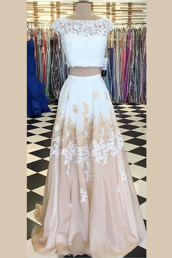 Two Piece Boat Sleeveless Prom Dress,Lace Appliques Floral Key Hole Back Evening Dress OMP19