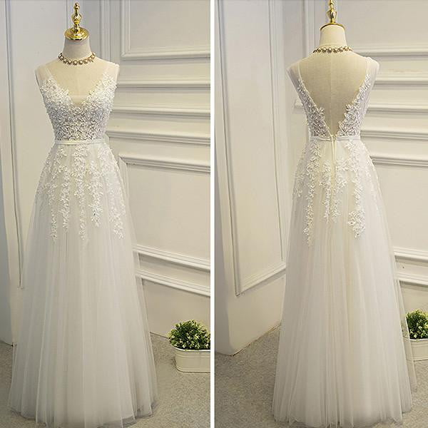 Simple A-line Lace Tulle V-Neck Wedding Dress,Appliques Open Back Wedding Dress OMW10