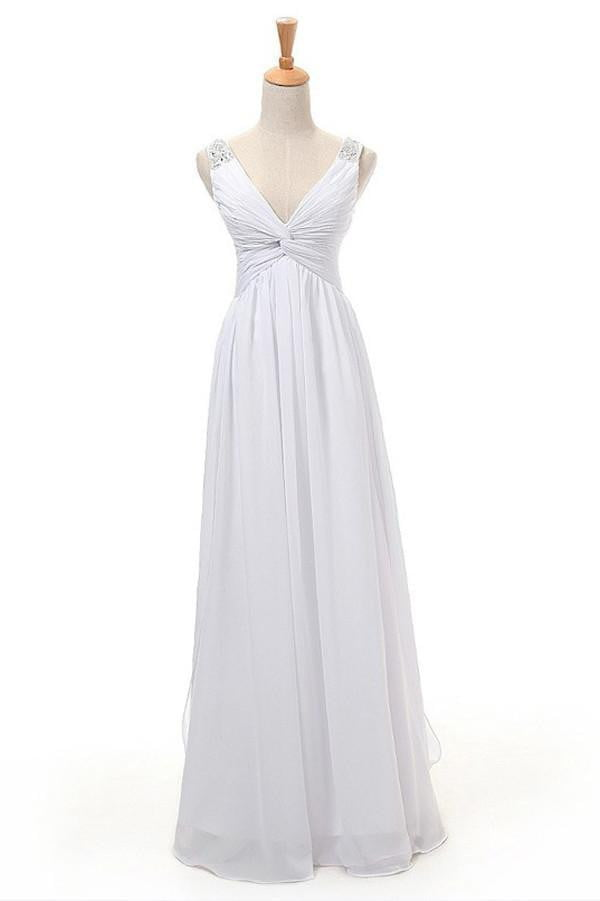 Simple A-line V-neck Floor Length Wedding Gowns,Open Back Chiffon Beach Wedding Dress OMW24