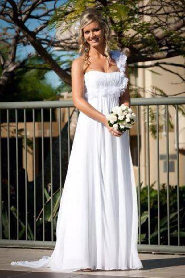 Simple One Shoulder Sheath Wedding Gowns,Floor Length Floral Mid Back Wedding Dress OMW74