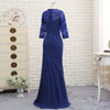 Mermaid 3/4 Sleeves Lace Long Evening Dresses Mother Dresses For Wedding