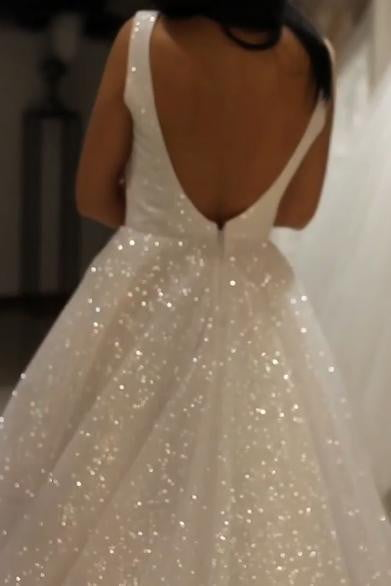 Sparkly Bridal Gowns V Neck Backless Wedding Dresses with Sequins W503