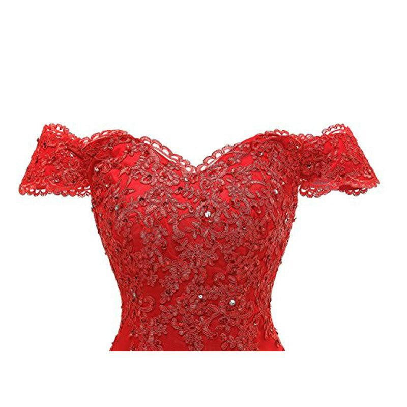 Red Off The Shoulder Long Prom Dresses Beaded lace Appliques Mermaid Party Gown for Women