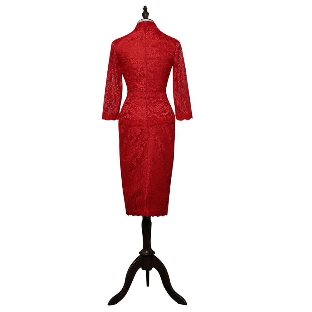 Red 2019 Mother Of The Bride Dresses Sheath V-neck 3/4 Sleeves Lace Plus Size Groom Mother Dress
