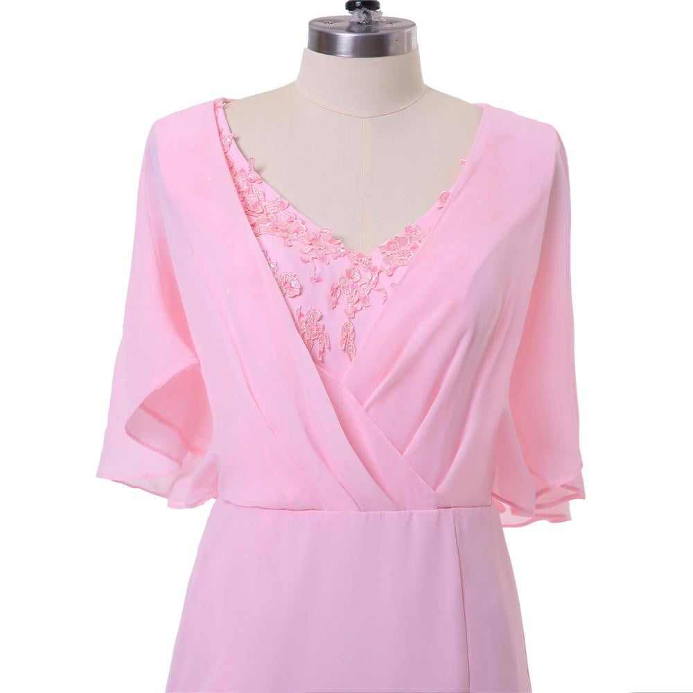Pink 2019 Mother Of The Bride Dresses Sheath V-neck Half Sleeves Chiffon Lace Plus Size Short Mother Dresses
