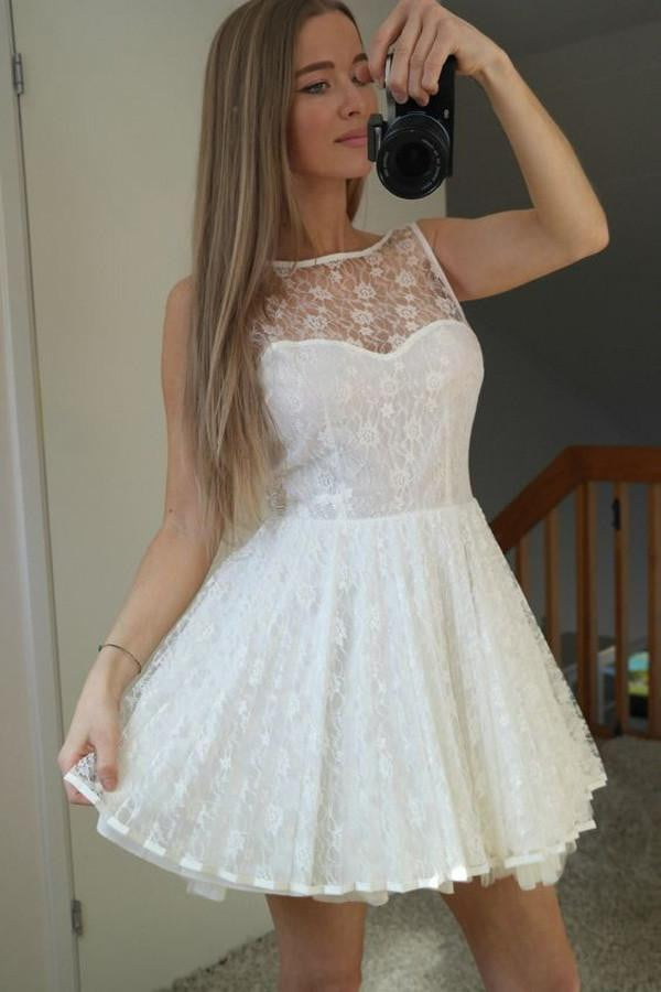White Sheer Homecoming Dresses,Sleeveless Lace Up Appliques Short Prom Dress HCD120