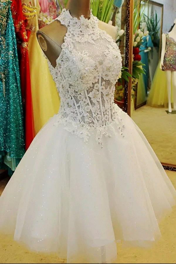 White Halter Sleeveless Homecoming Dress,Layers Appliques Beading Short Prom Dress H203