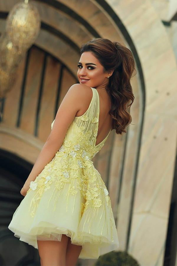 Yellow Sheer Neck Homecoming Dress,Deep V Neck Appliques Short Prom Dress H213