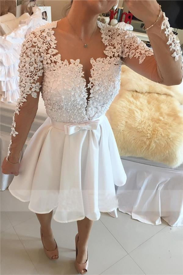 White Square Long Sleeve Homecoming Dress,Keyhole Back Appliques Beading Short/Mini Prom Dress H240