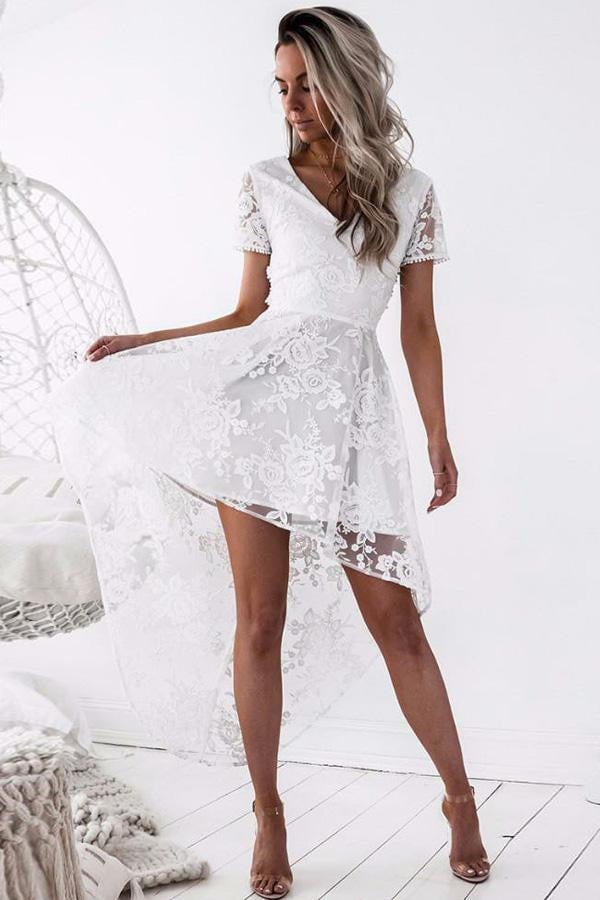 White V Neck Short Sleeve Homecoming Dresses,High Low Open Back Appliques Short Prom Dress H166