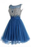 Sky blue Tulle sequins beaded round neck A-line short Homecoming dresses for teens